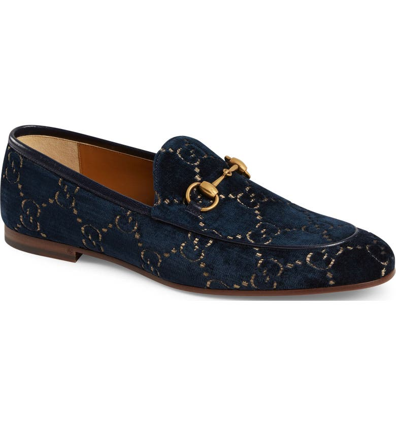 GUCCI Jordaan GG Velvet Loafer, Main, color, BLUE/ BEIGE