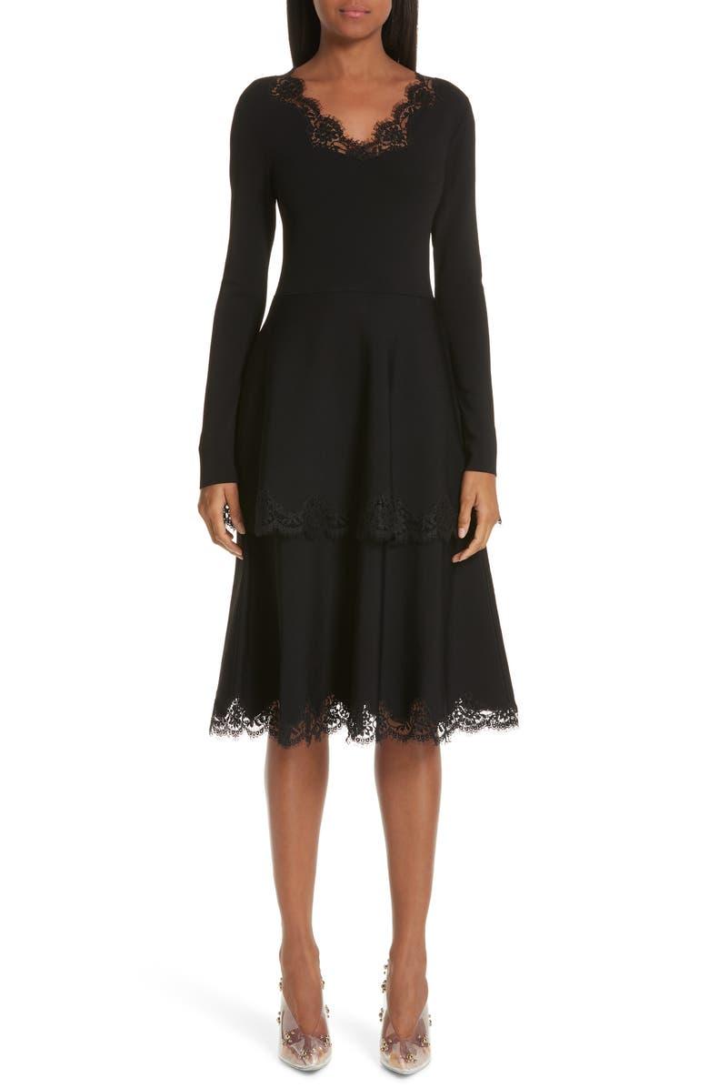 STELLA MCCARTNEY Lace Trim Tiered Sweater Dress, Main, color, 001