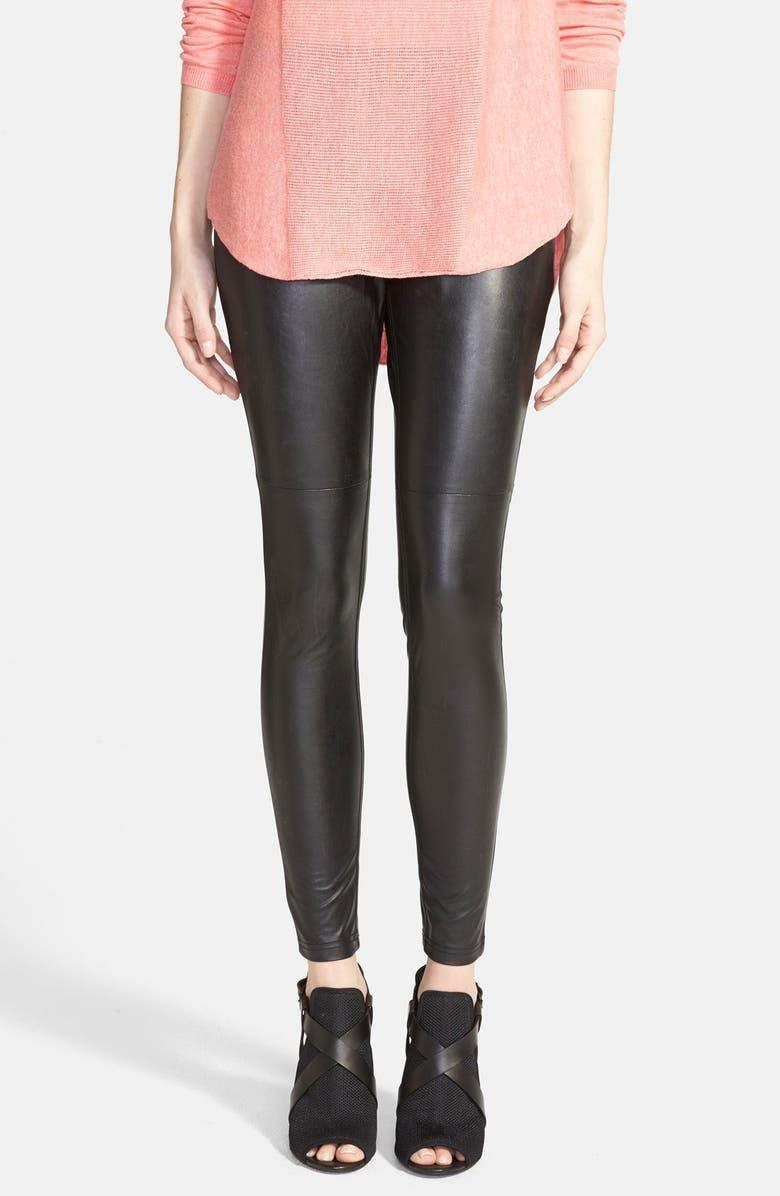 HUE Faux Leather Leggings, Main, color, 001
