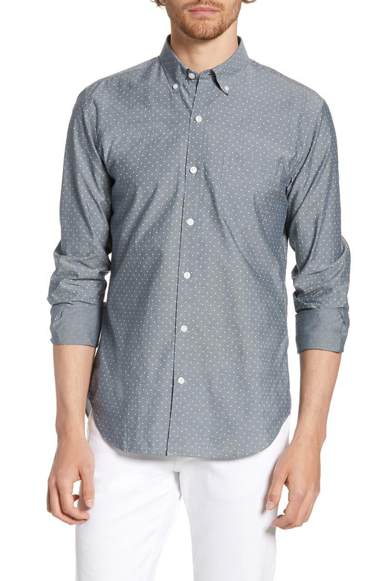 BONOBOS Summerweight Slim Fit Dot Shirt, Main, color, 450