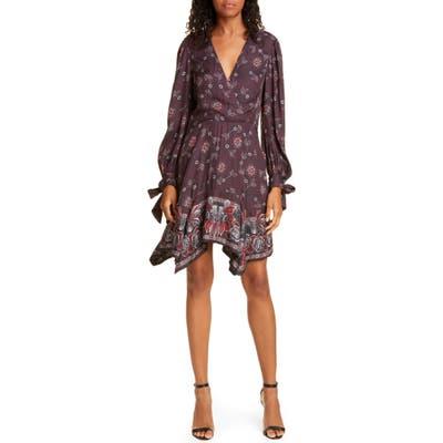 Rebecca Taylor Claudine Long Sleeve Handkerchief Hem Silk Blend Dress, Purple