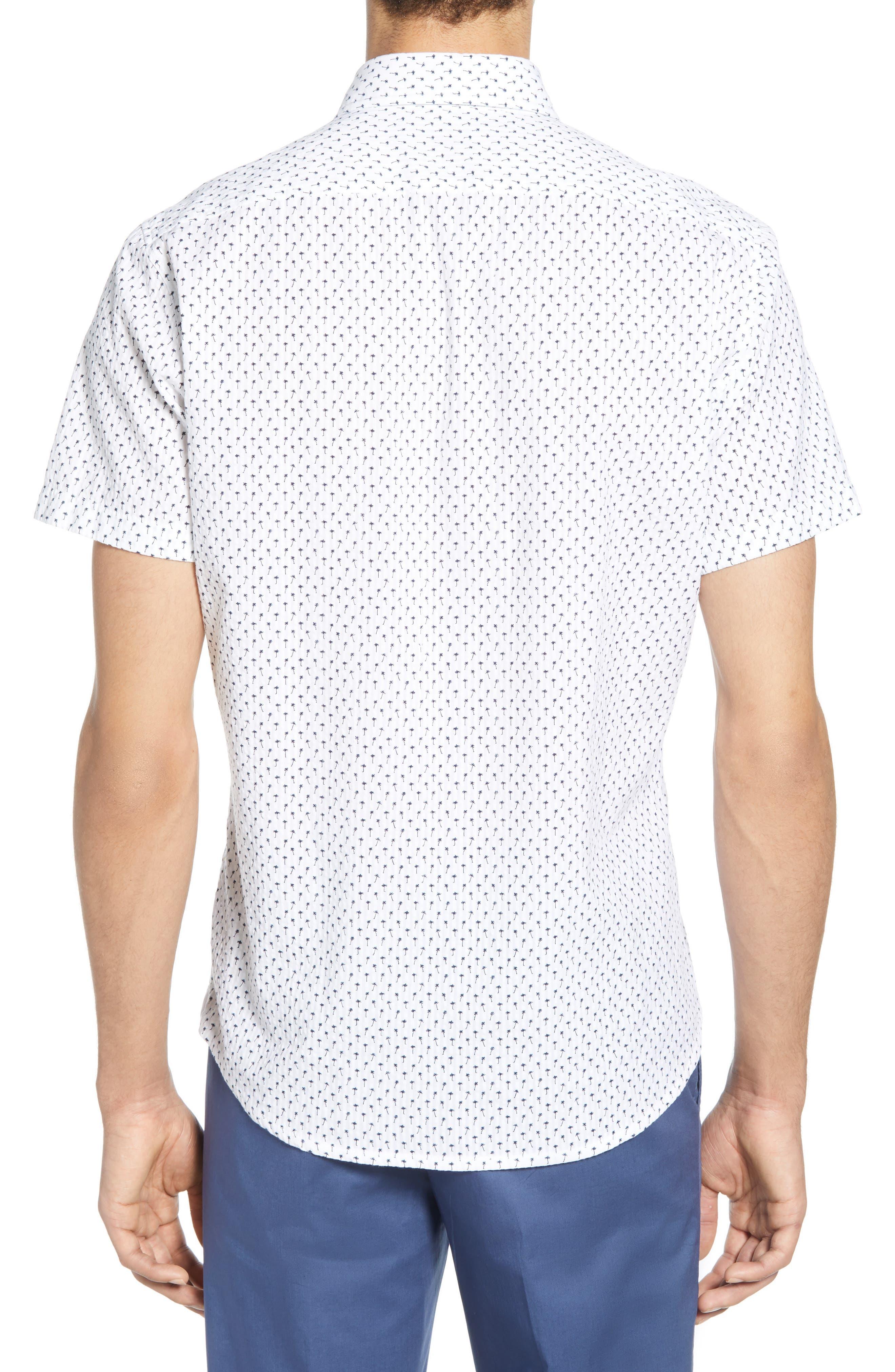 ,                             Rash Regular Fit Palm Print Sport Shirt,                             Alternate thumbnail 3, color,                             WHITE