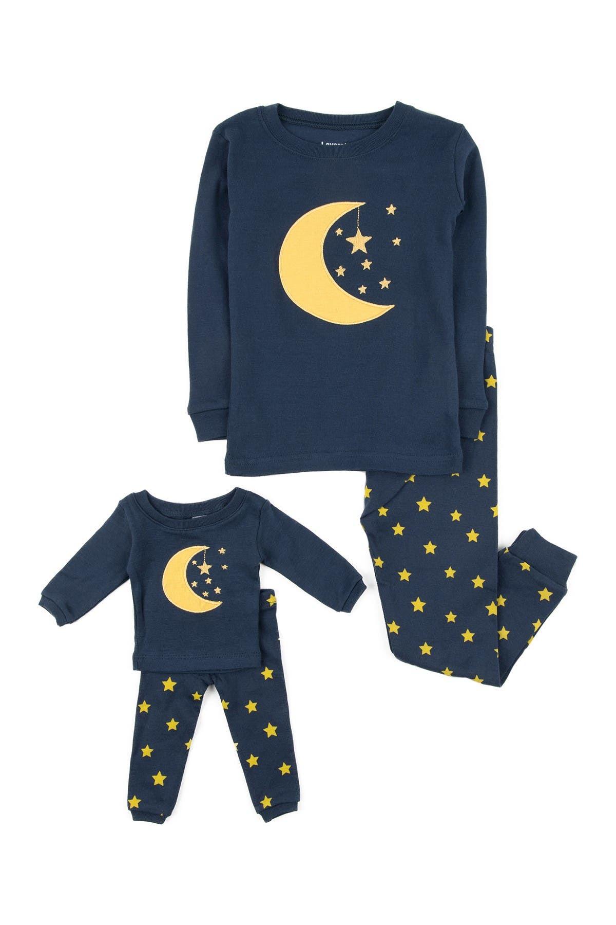 Image of Leveret Moon & Stars Pajama & Matching Doll Pajama Set
