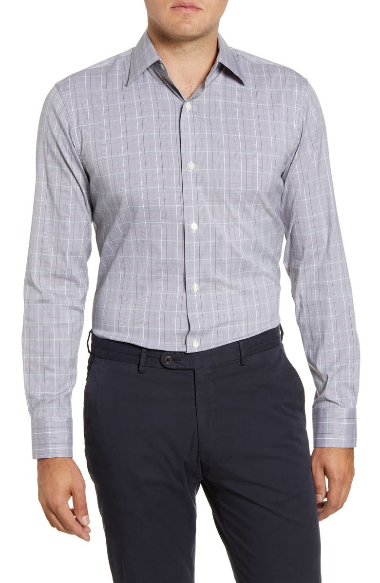 BONOBOS Crewe Slim Fit Plaid Stretch Dress Shirt, Main, color, CREWE PLAID - STONECUTTER