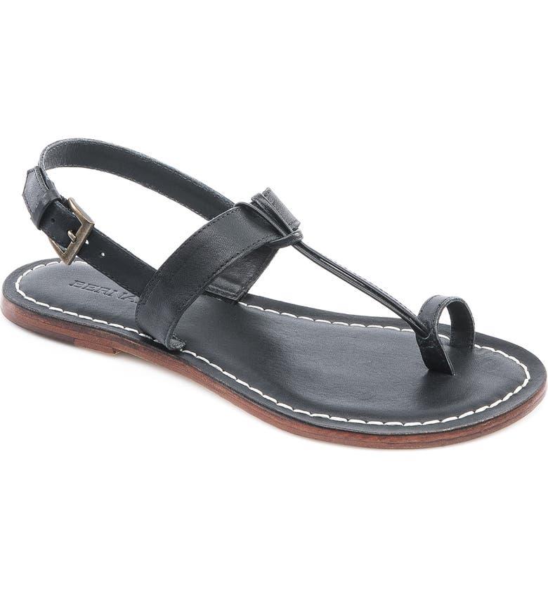 BERNARDO Maverick Leather Sandal, Main, color, BLACK