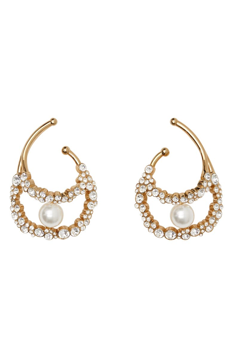 BURBERRY Imitation Pearl Oyster Ear Cuffs, Main, color, 701