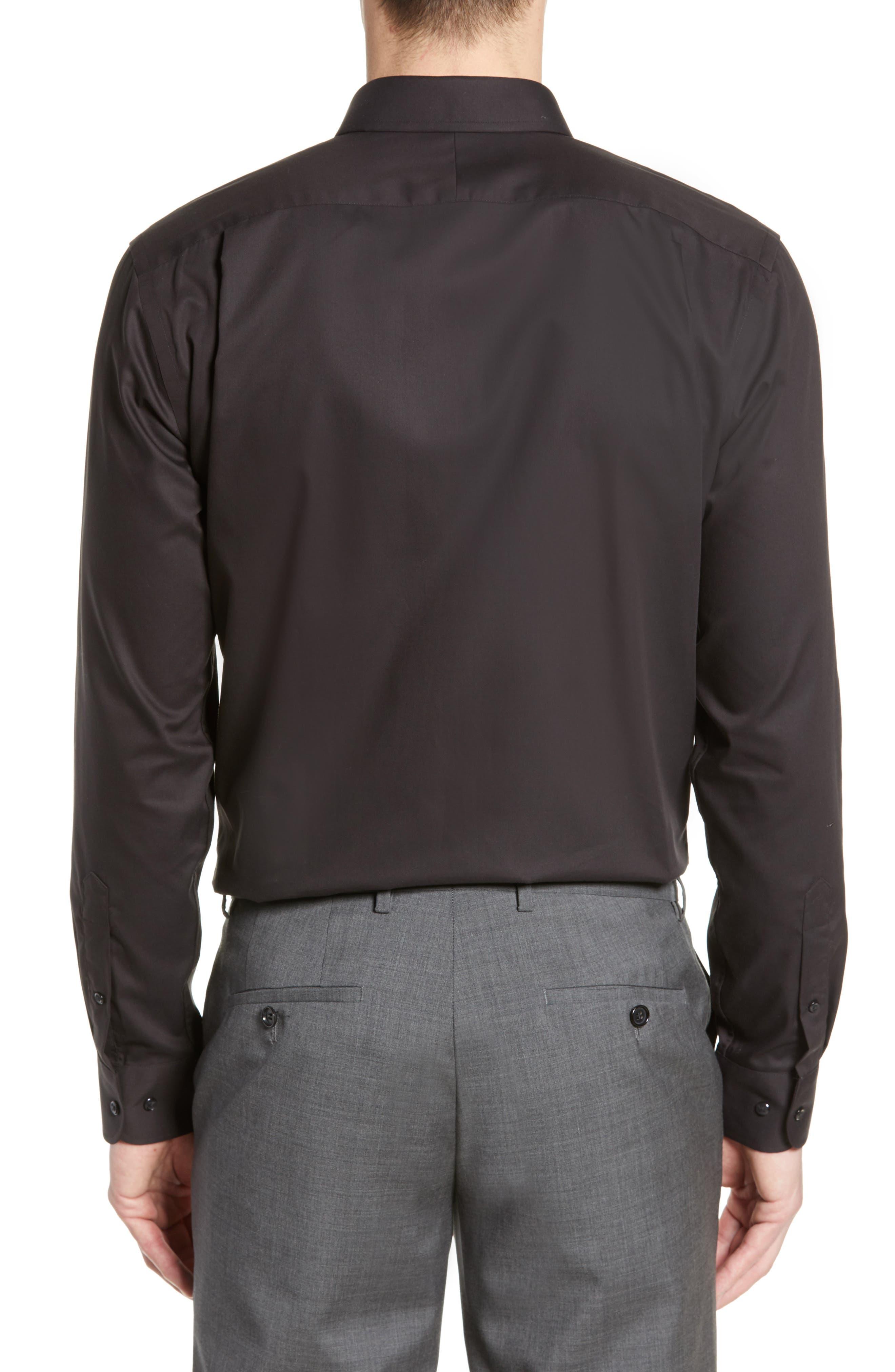 ,                             Trim Fit Non-Iron Dress Shirt,                             Alternate thumbnail 3, color,                             BLACK