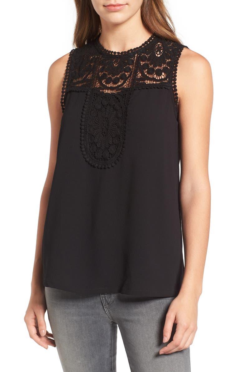 HALOGEN<SUP>®</SUP> Lace & Crepe Top, Main, color, BLACK