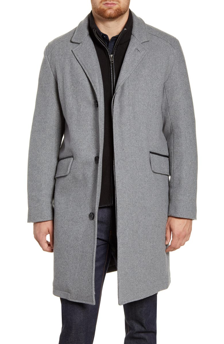 COLE HAAN SIGNATURE Wool Blend Topcoat with Interior Knit Bib, Main, color, LIGHT GREY
