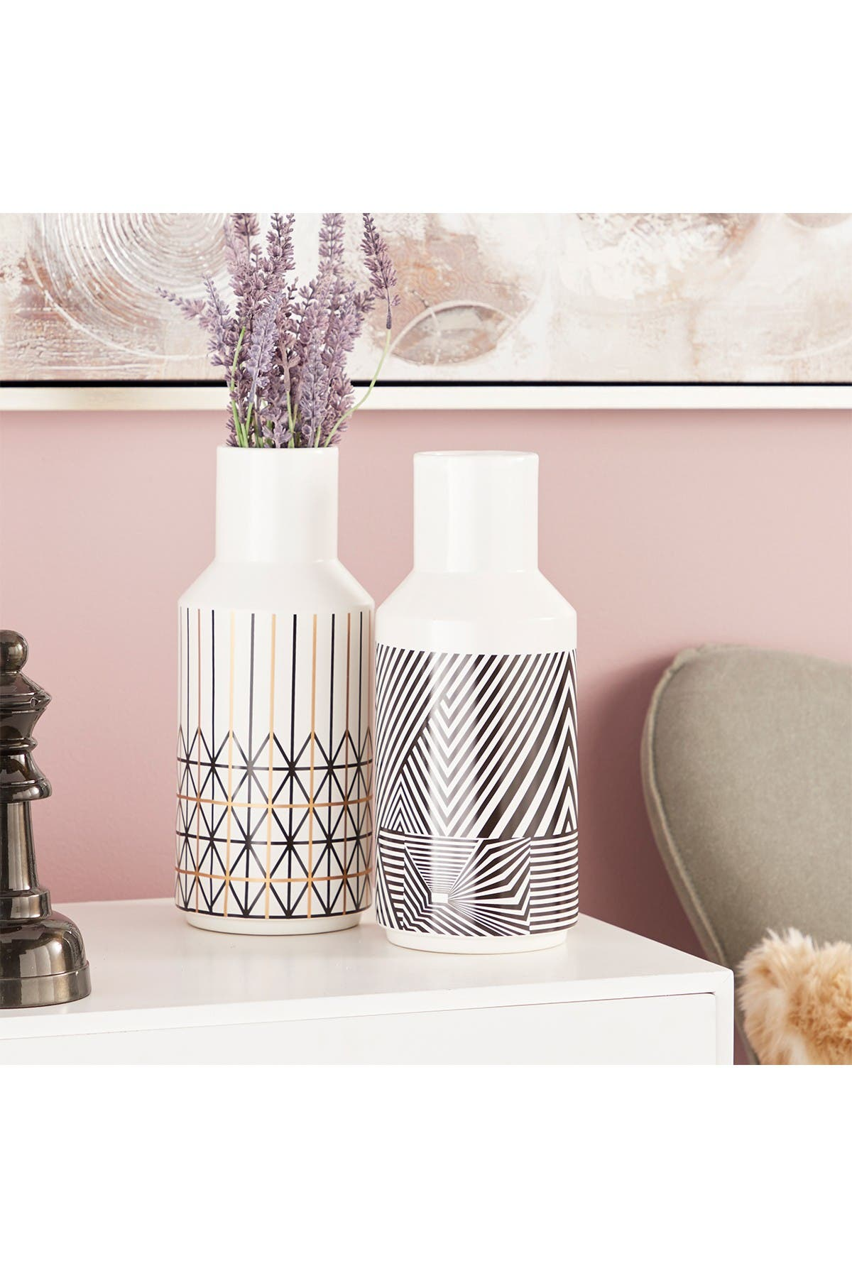 Image of CosmoLiving by Cosmopolitan Tall Eclectic Style White Boho Patterned Decorative Vase - Set of 2