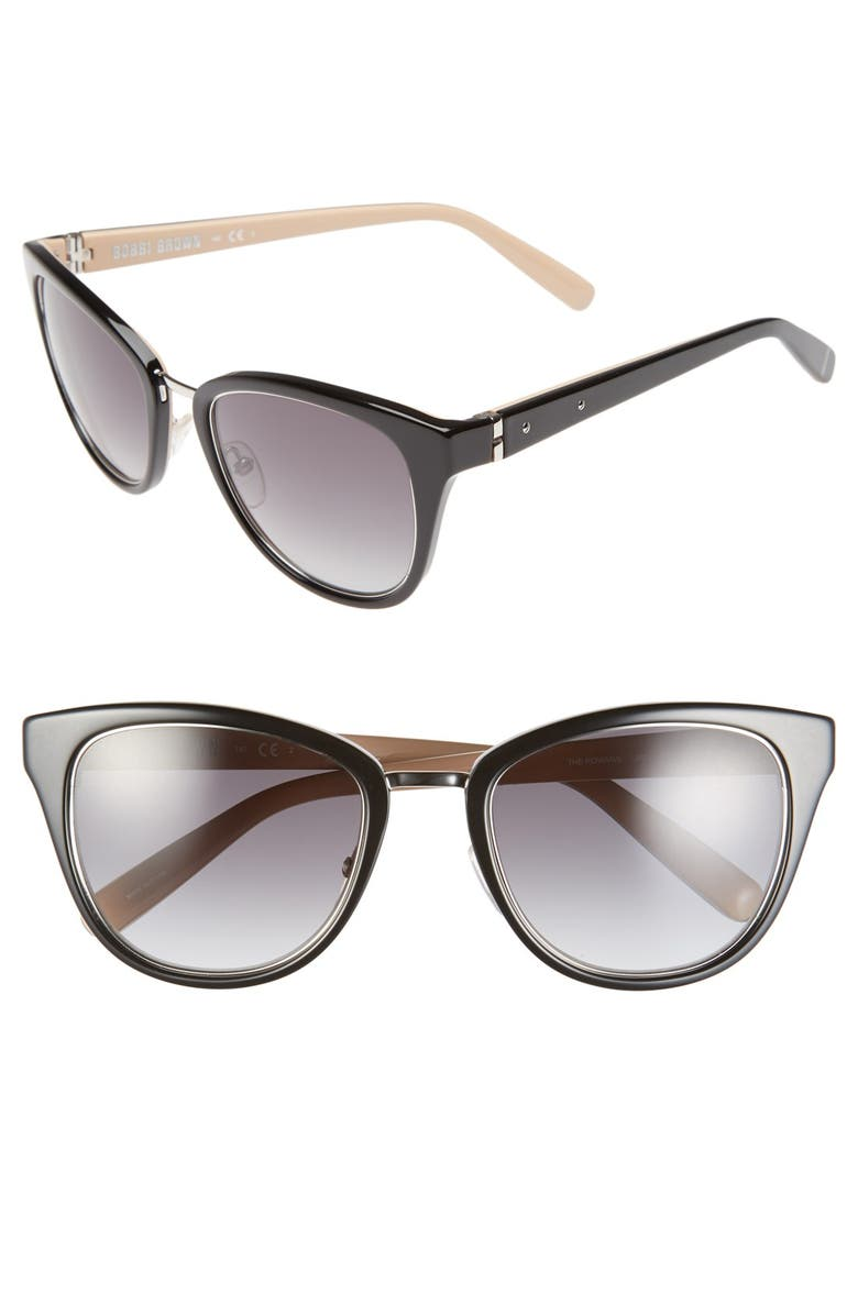 BOBBI BROWN 'The Rowan' 53mm Cat Eye Sunglasses, Main, color, 001