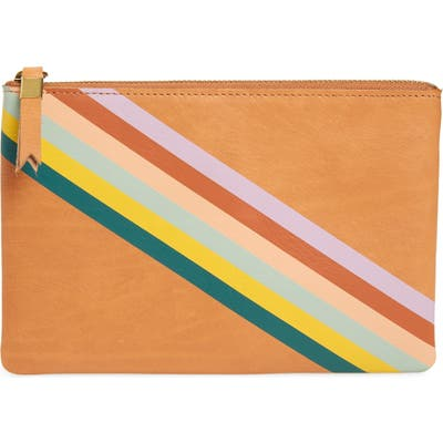 Madewell Rainbow Stripe The Leather Pouch Clutch - Beige