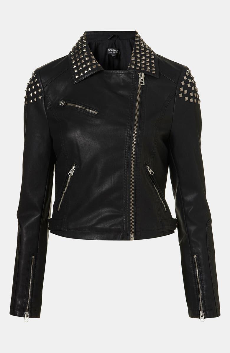 TOPSHOP Studded Faux Leather Biker Jacket, Main, color, 001