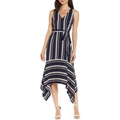 Vince Camuto Handkerchief Hem Stripe Crepe Dress, Blue
