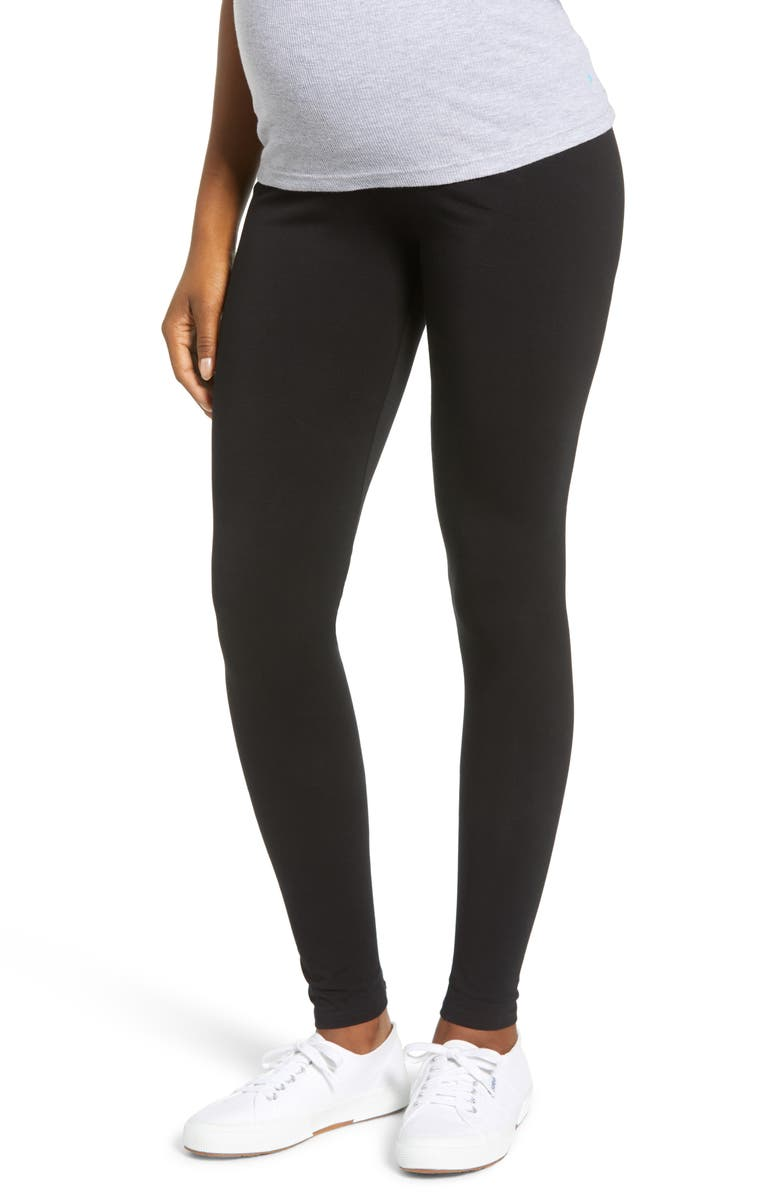ANGEL MATERNITY Angel 2-Pack Maternity Belly Support Maternity Leggings, Main, color, BLACK