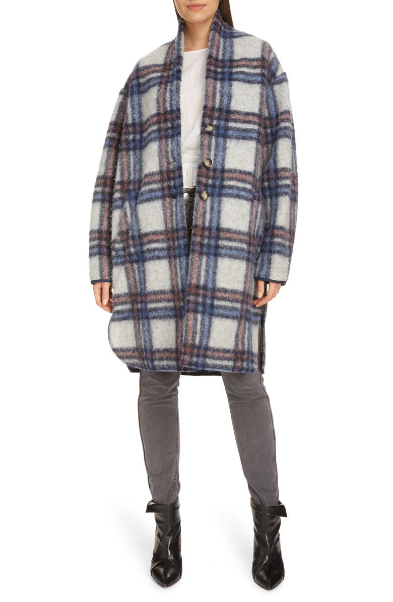 ISABEL MARANT ÉTOILE Gabriel Plaid Wool Blend Coat, Main, color, ECRU/ BLUE