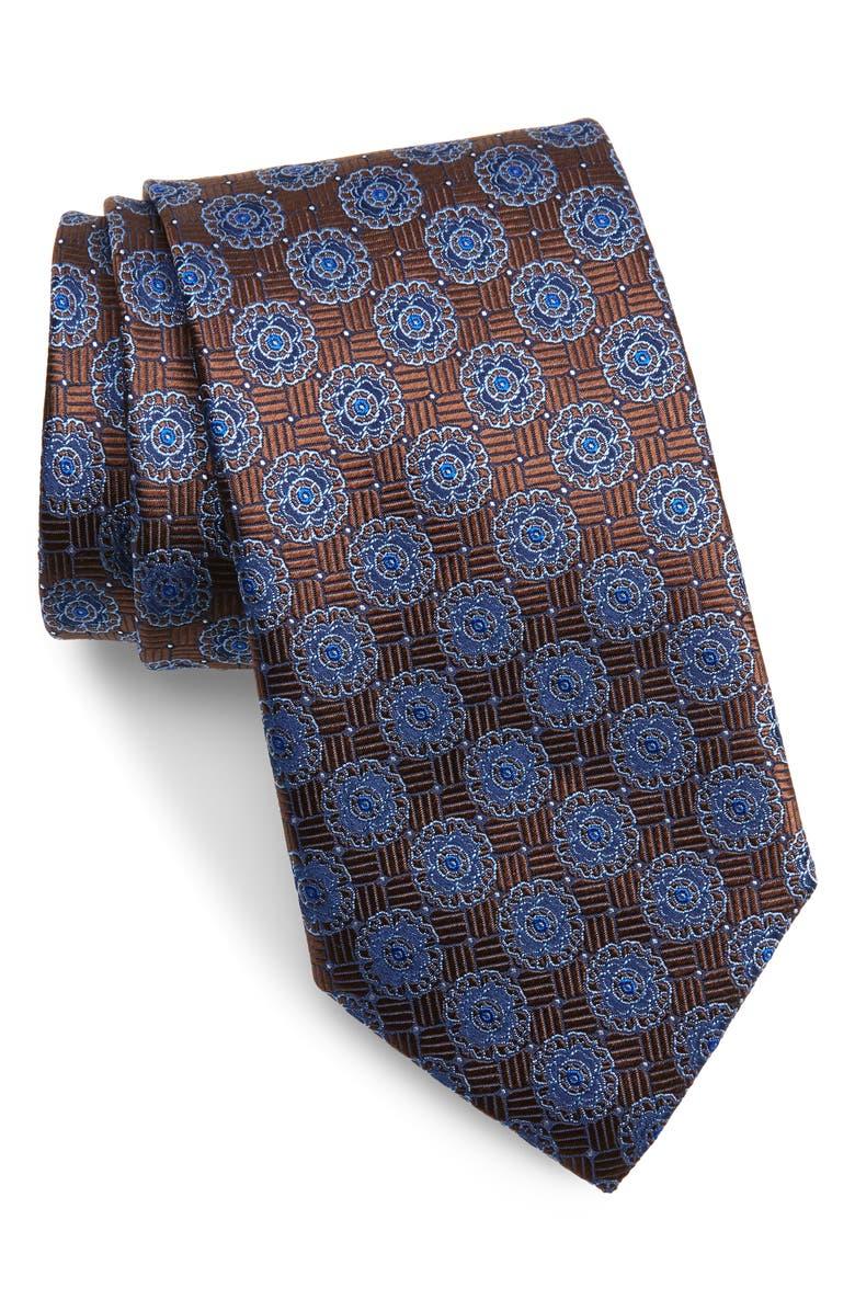 CANALI Floral Medallion Silk Tie, Main, color, 200