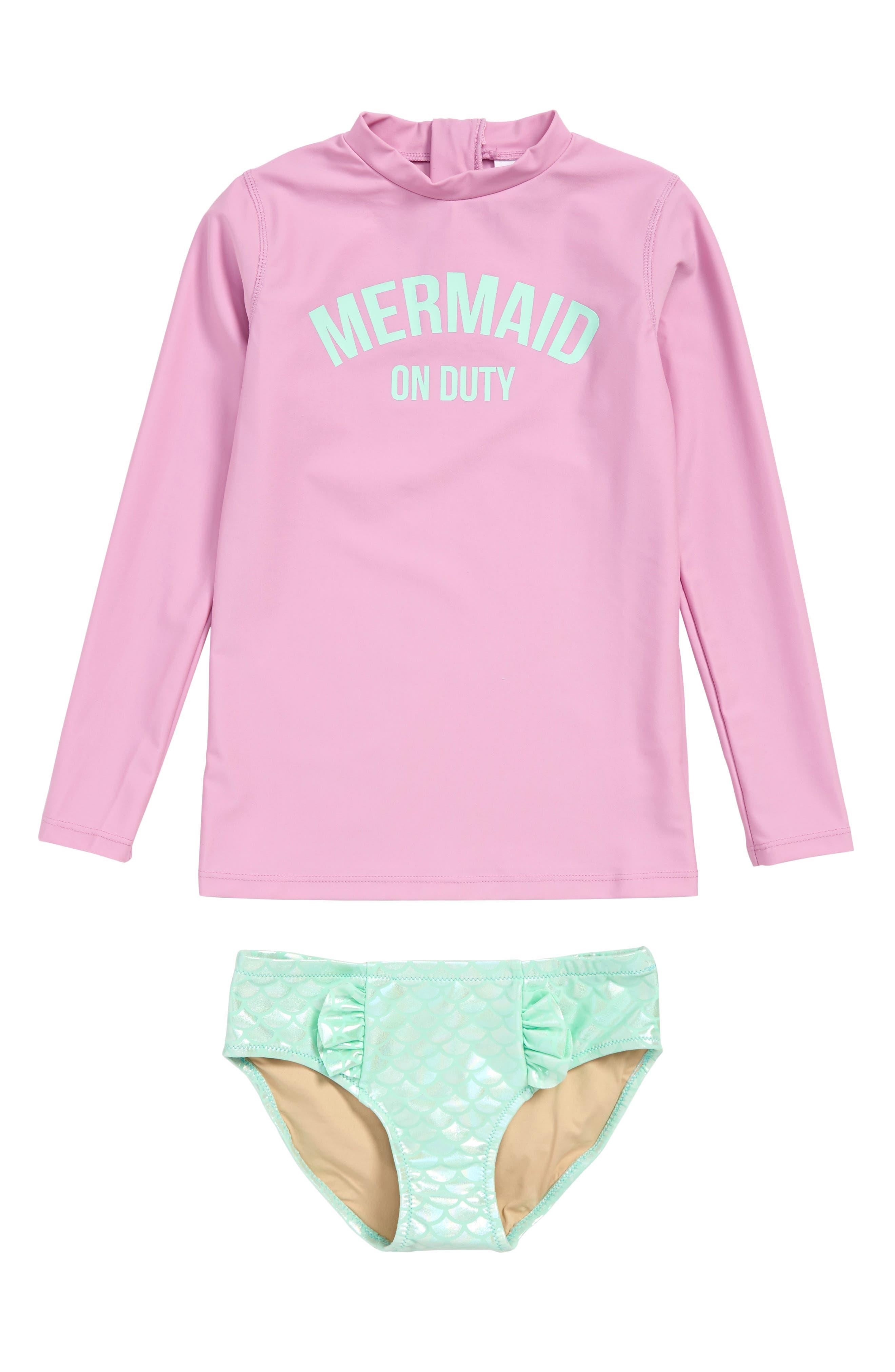 ,                             Magic Mermaid Two-Piece Rashguard Swimsuit,                             Main thumbnail 1, color,                             LILAC
