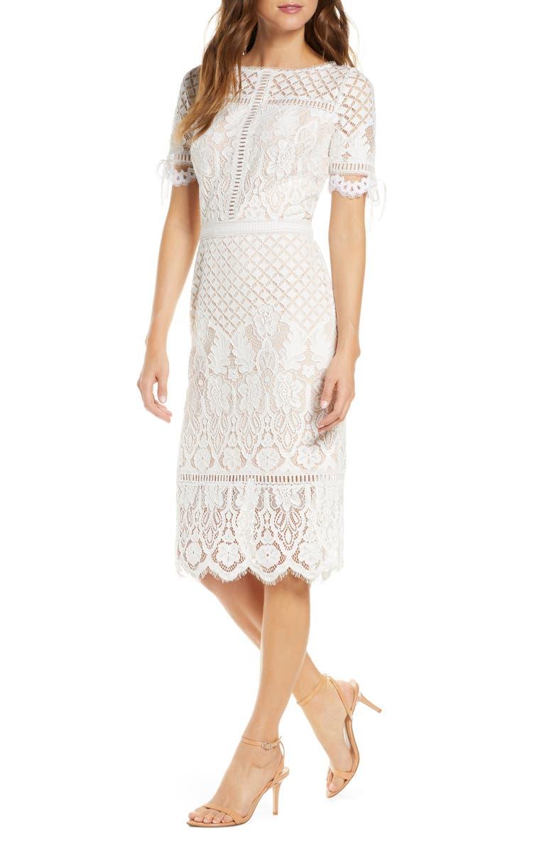 TADASHI SHOJI Tie Sleeve Lace Sheath Dress, Main, color, IVORY/ PETAL