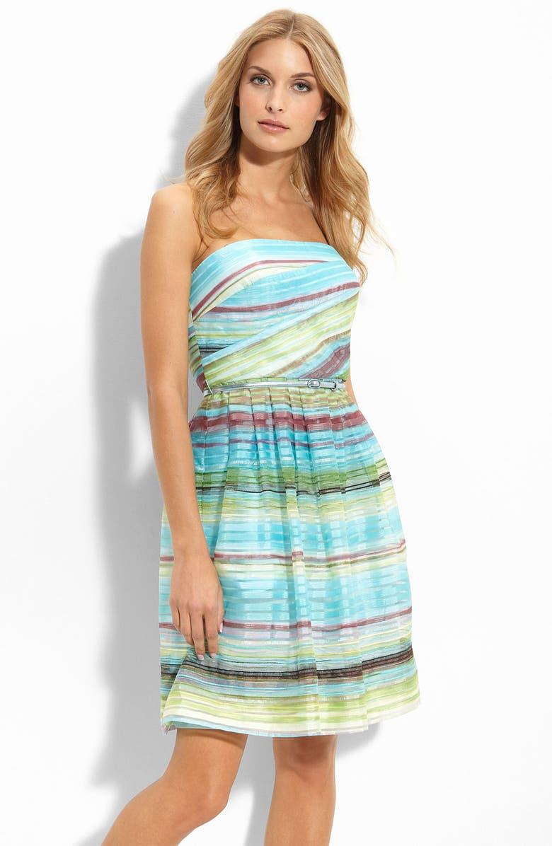 DONNA MORGAN Stripe Chiffon Dress, Main, color, 400