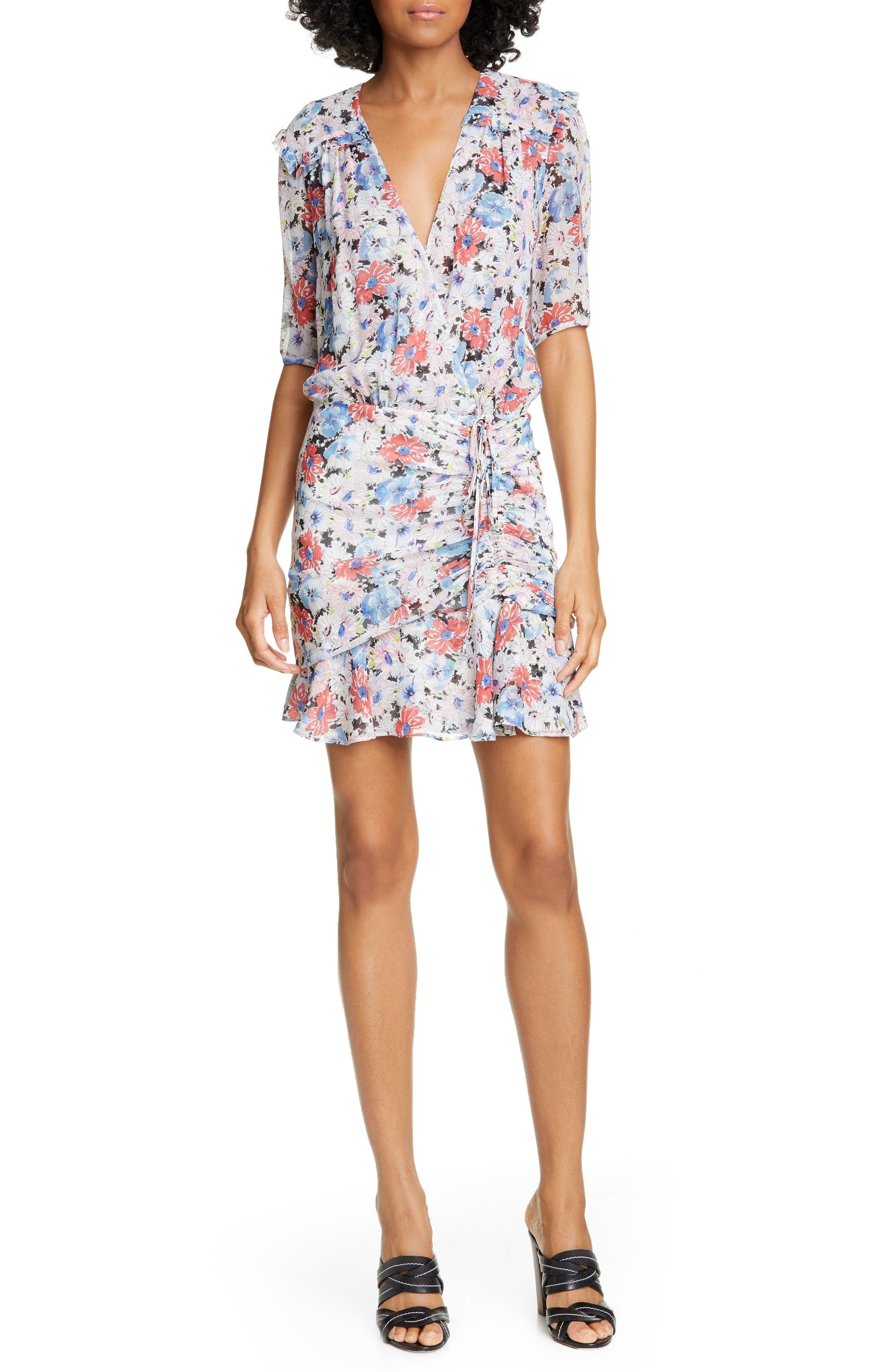 Veronica Beard Dakota Ruched Floral Print Silk Dress, White