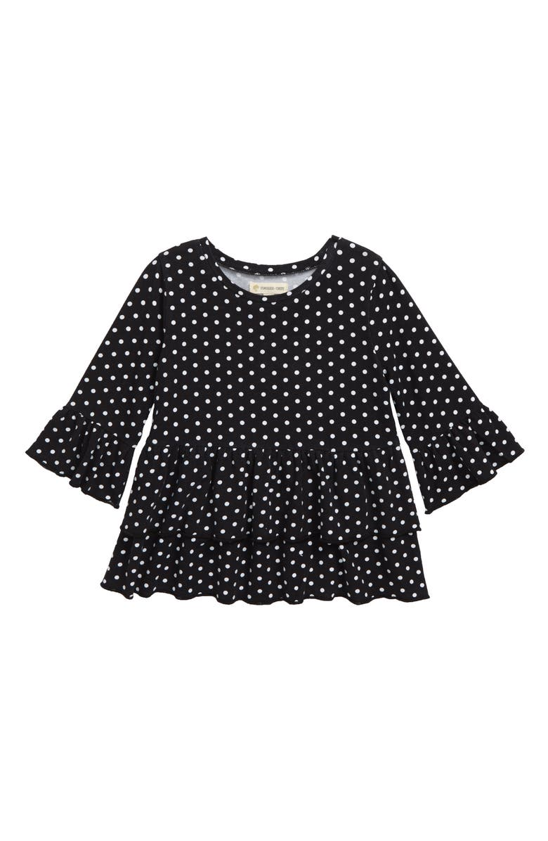 TUCKER + TATE Tiered Ruffle Top, Main, color, BLACK- WHITE DOT