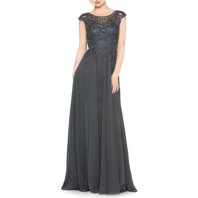 Marsoni Scalloped Lace & Chiffon A-Line Gown, Grey