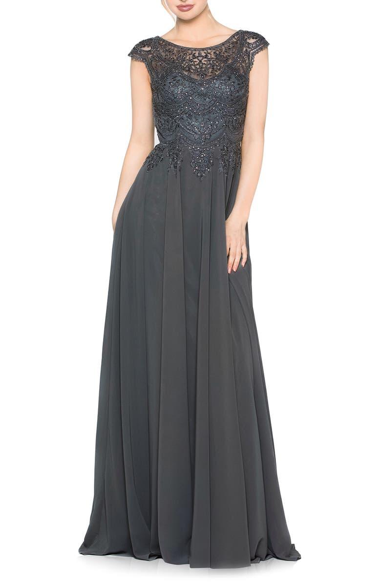 MARSONI Scalloped Lace & Chiffon A-Line Gown, Main, color, CHARCOAL