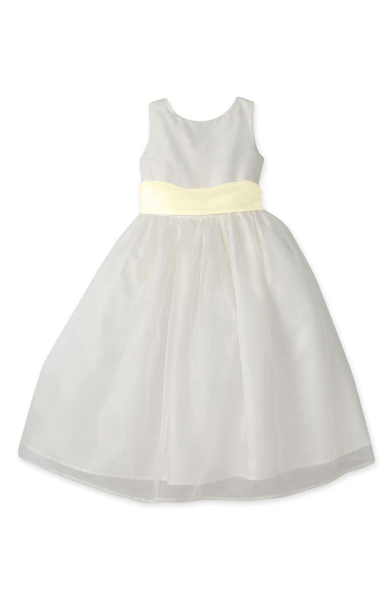 US ANGELS Sleeveless Organza Dress, Main, color, IVORY/ YELLOW