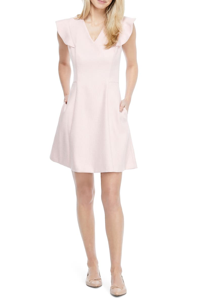 GAL MEETS GLAM COLLECTION Ruffle Sleeve Minidress, Main, color, PINK