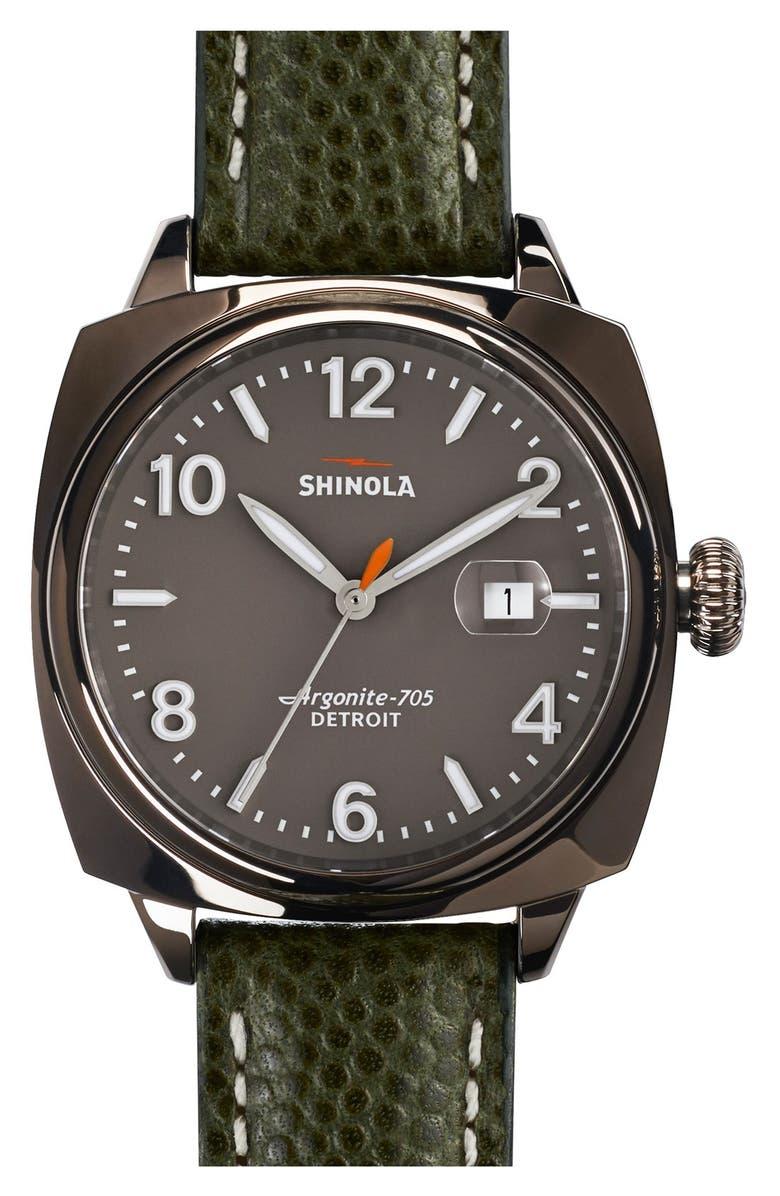 SHINOLA 'The Brakeman' Leather Strap Watch, 40mm, Main, color, 300