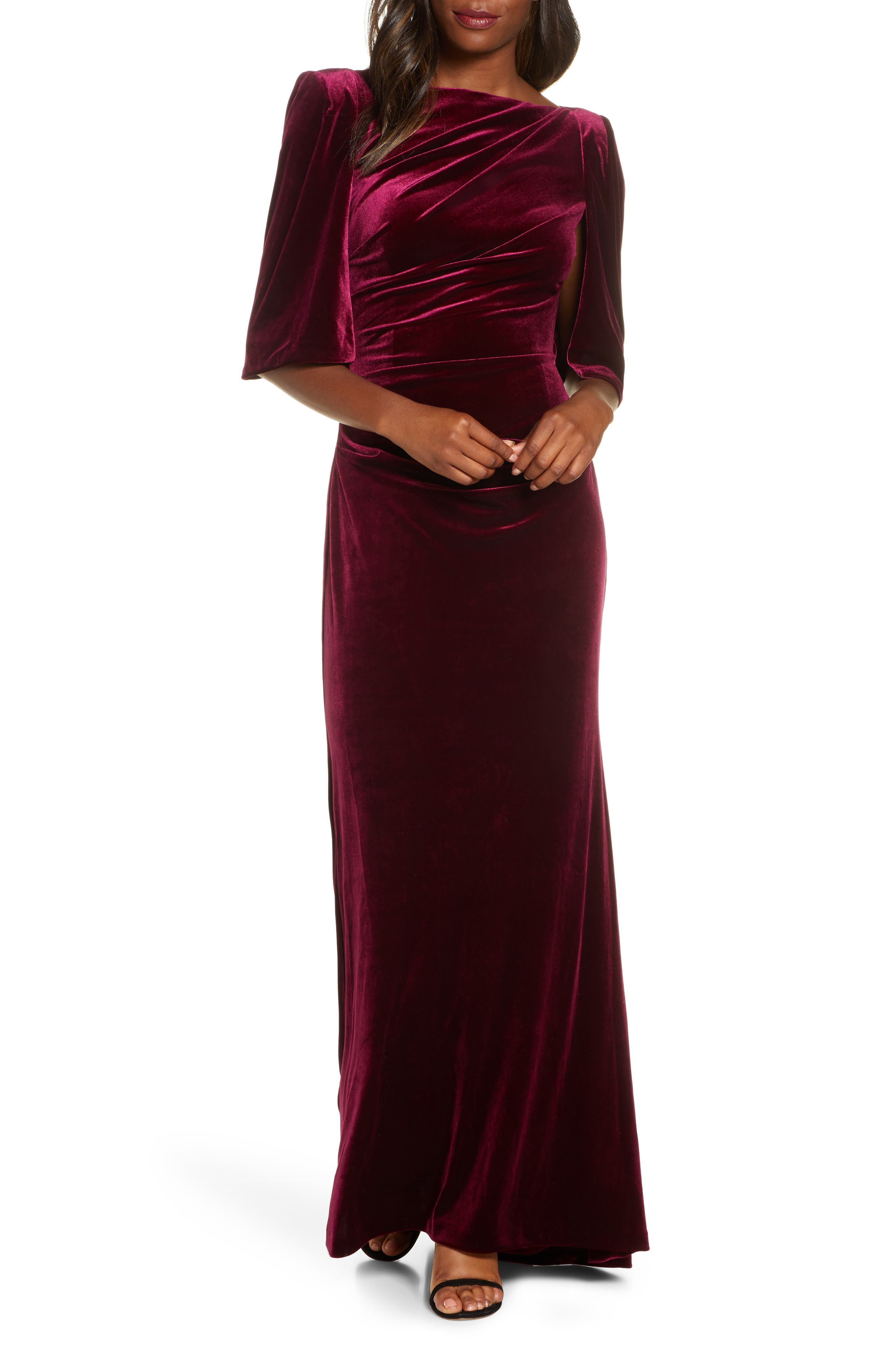 1940s Evening, Prom, Party, Formal, Ball Gowns Womens Eliza J Capelet Velvet Gown $188.00 AT vintagedancer.com