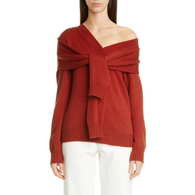 Monse One-Shoulder Merino Wool Sweater, Red