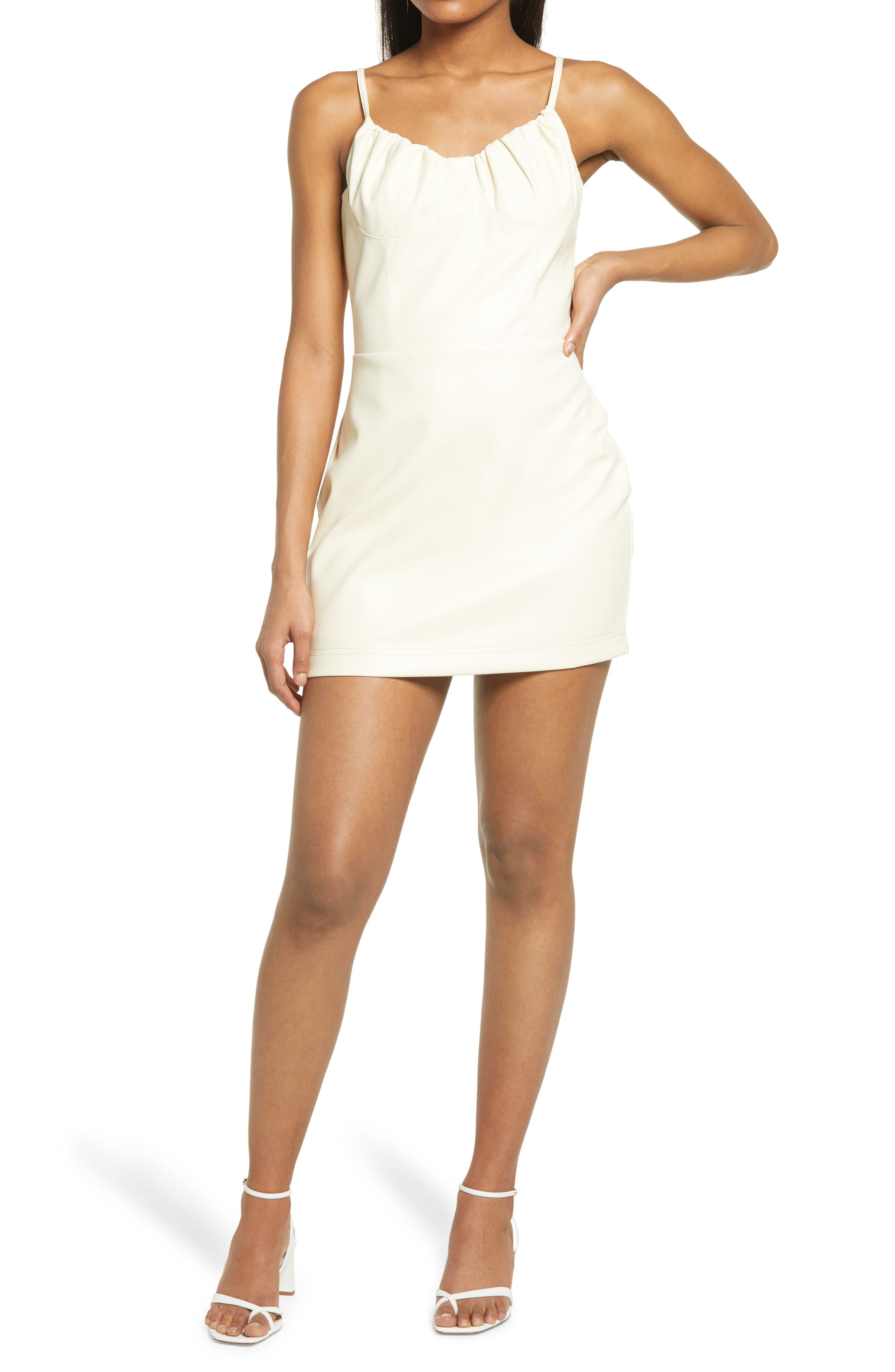 Women's Kendall + Kylie Shirred Bust Cup Faux Leather Minidress