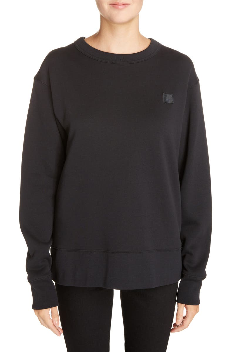 ACNE STUDIOS Fairview Crewneck Sweatshirt, Main, color, BLACK