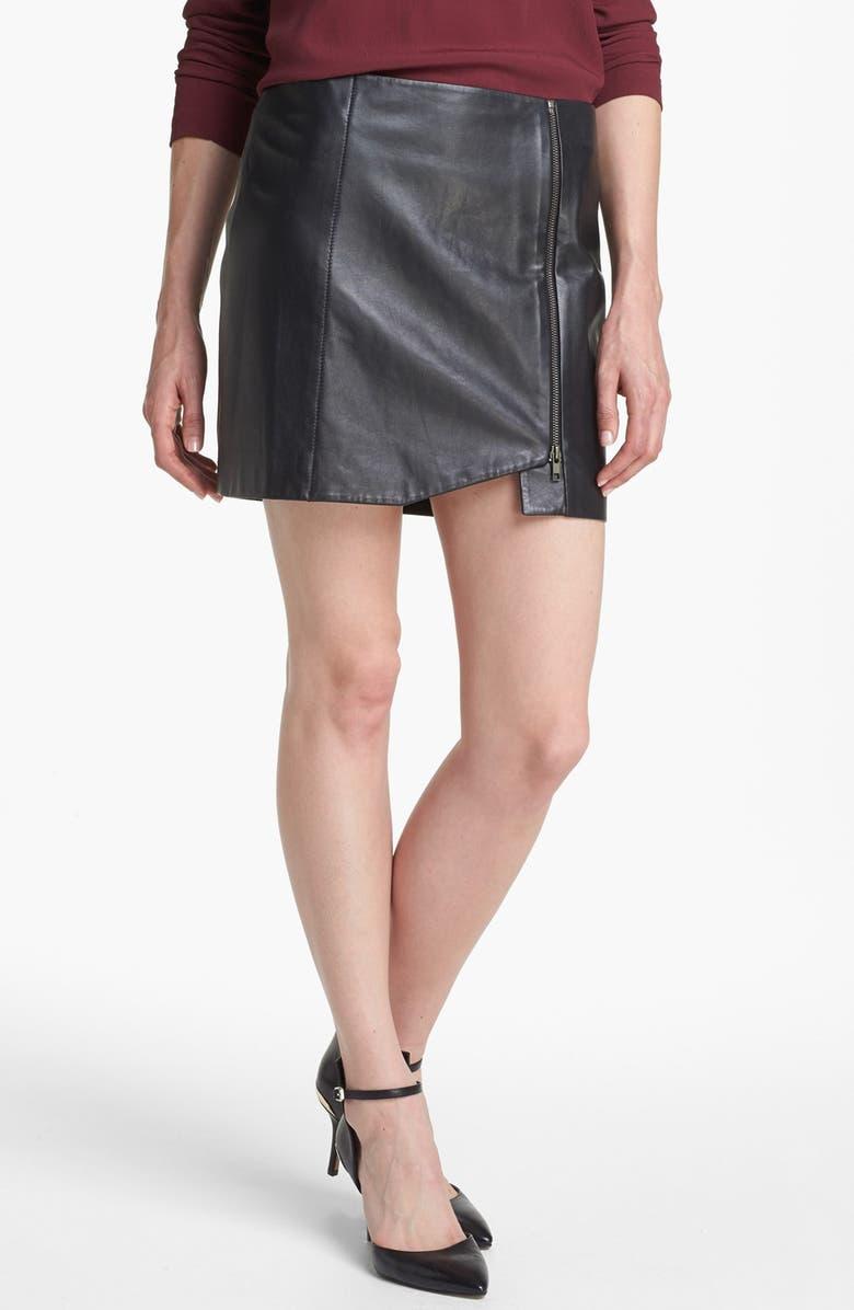 LEITH Leather Wrap Skirt, Main, color, 001