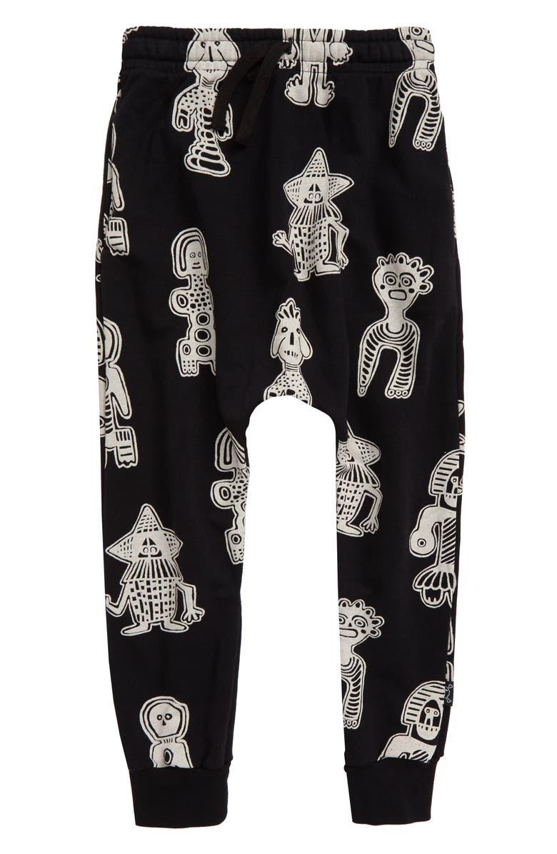 NUNUNU All Over Danders Baggy Sweatpants, Main, color, BLACK