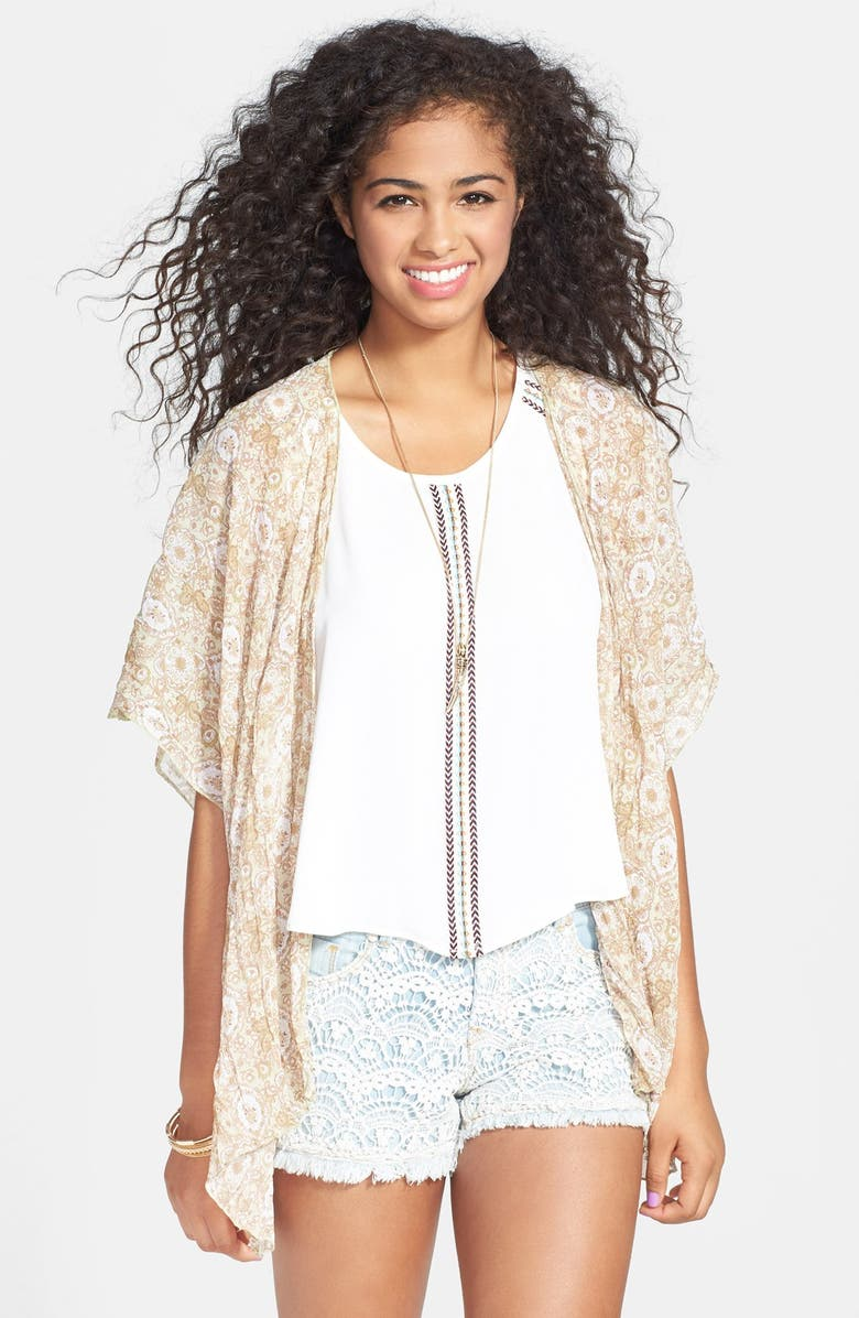 BAND OF GYPSIES Print Chiffon Cardigan, Main, color, 300