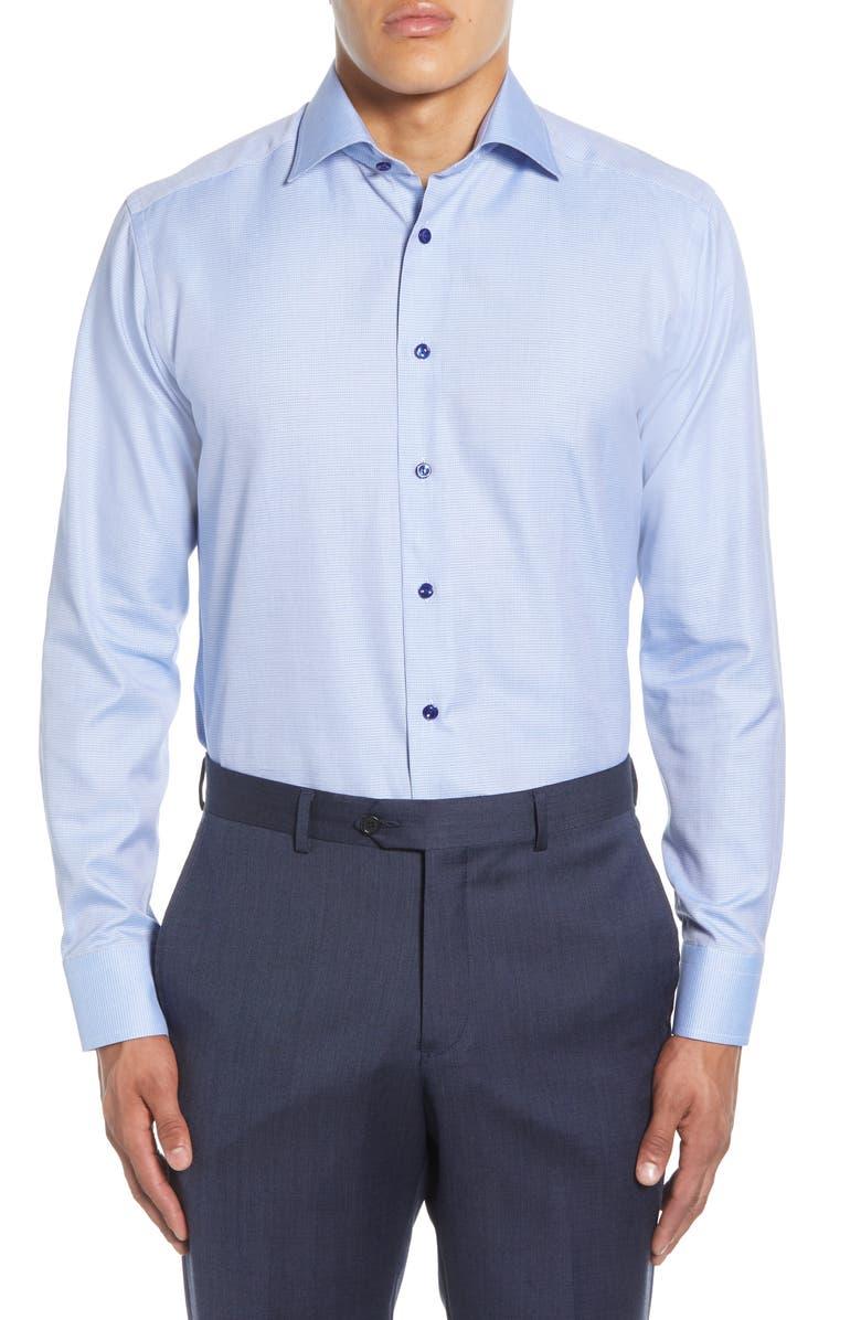 ETON Slim Fit Microdot Print Dress Shirt, Main, color, BLUE