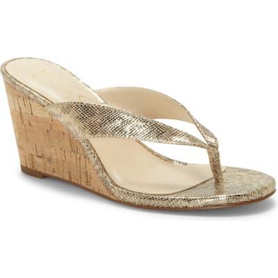 Jessica Simpson Coyrie Wedge Flip Flop, Metallic