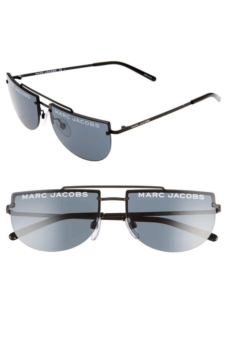 THE MARC JACOBS 56mm Rimless Sunglasses, Main, color, MATTE BLACK/ GREY BLUE