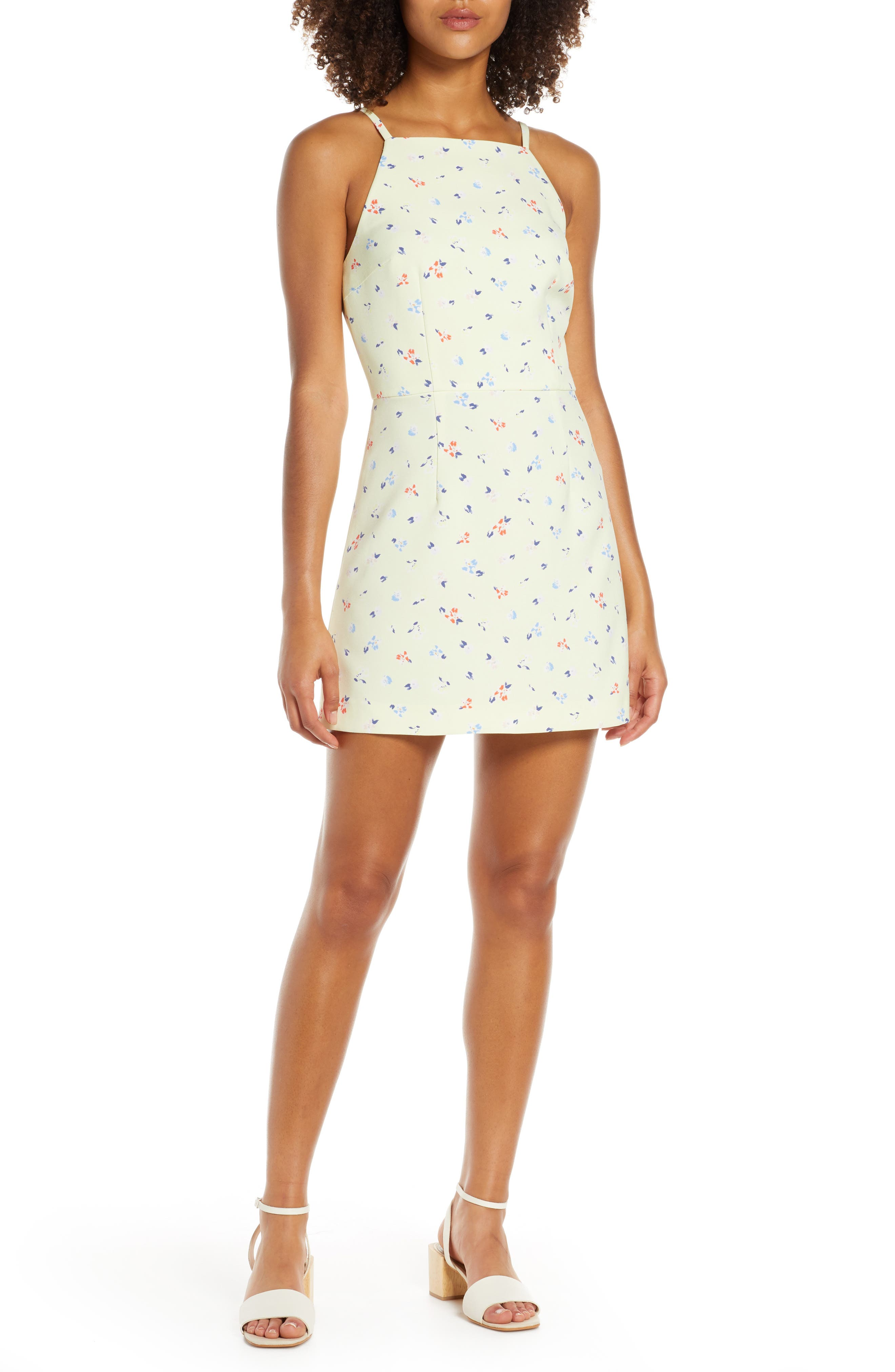 French Connection Floral Print Sleeveless Sheath Dress, Yellow