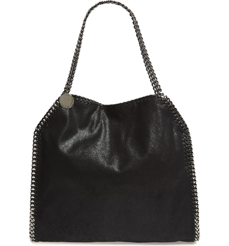 584810c952 'Small Falabella - Shaggy Deer' Faux Leather Tote, Main, color, BLACK '