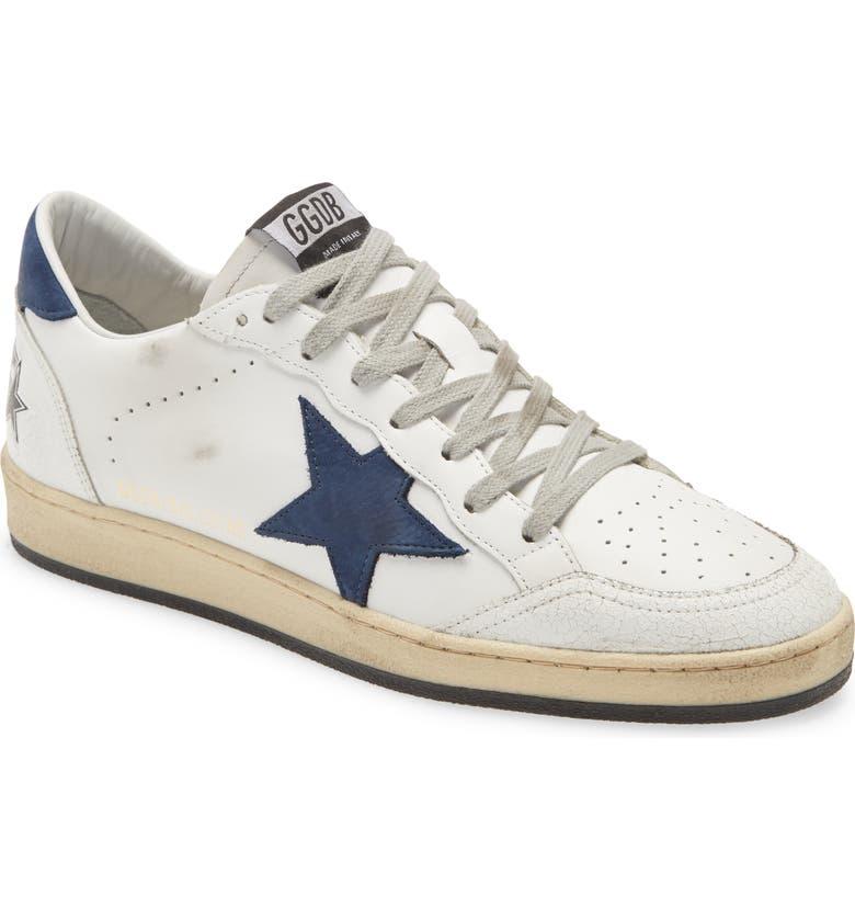 GOLDEN GOOSE Ball Star Sneaker, Main, color, WHITE LEATHER/ BLUE STAR
