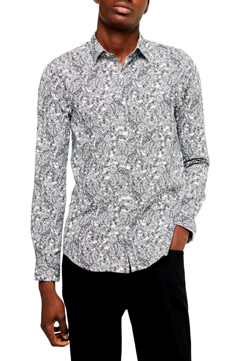TOPMAN Paisley Classic Button Up Shirt, Main, color, WHITE MULTI