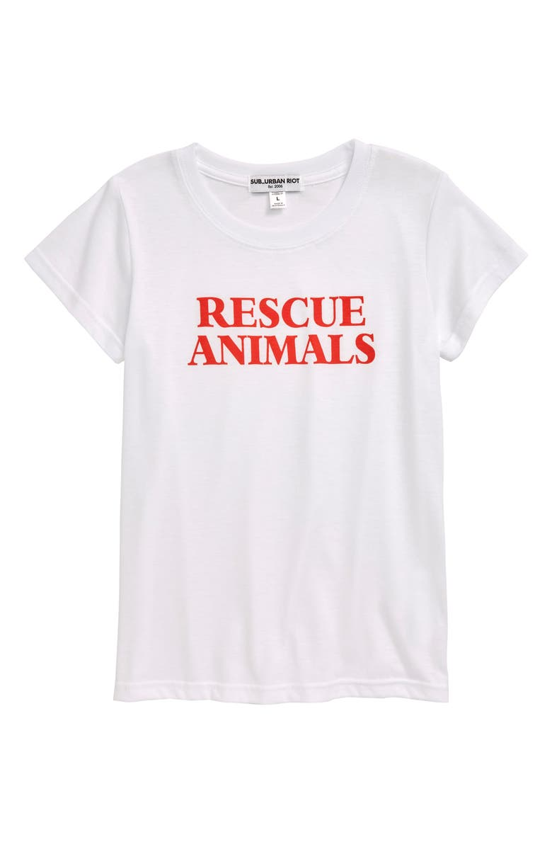SUB_URBAN RIOT Rescue Animals Tee, Main, color, WHITE/RED LETTERS