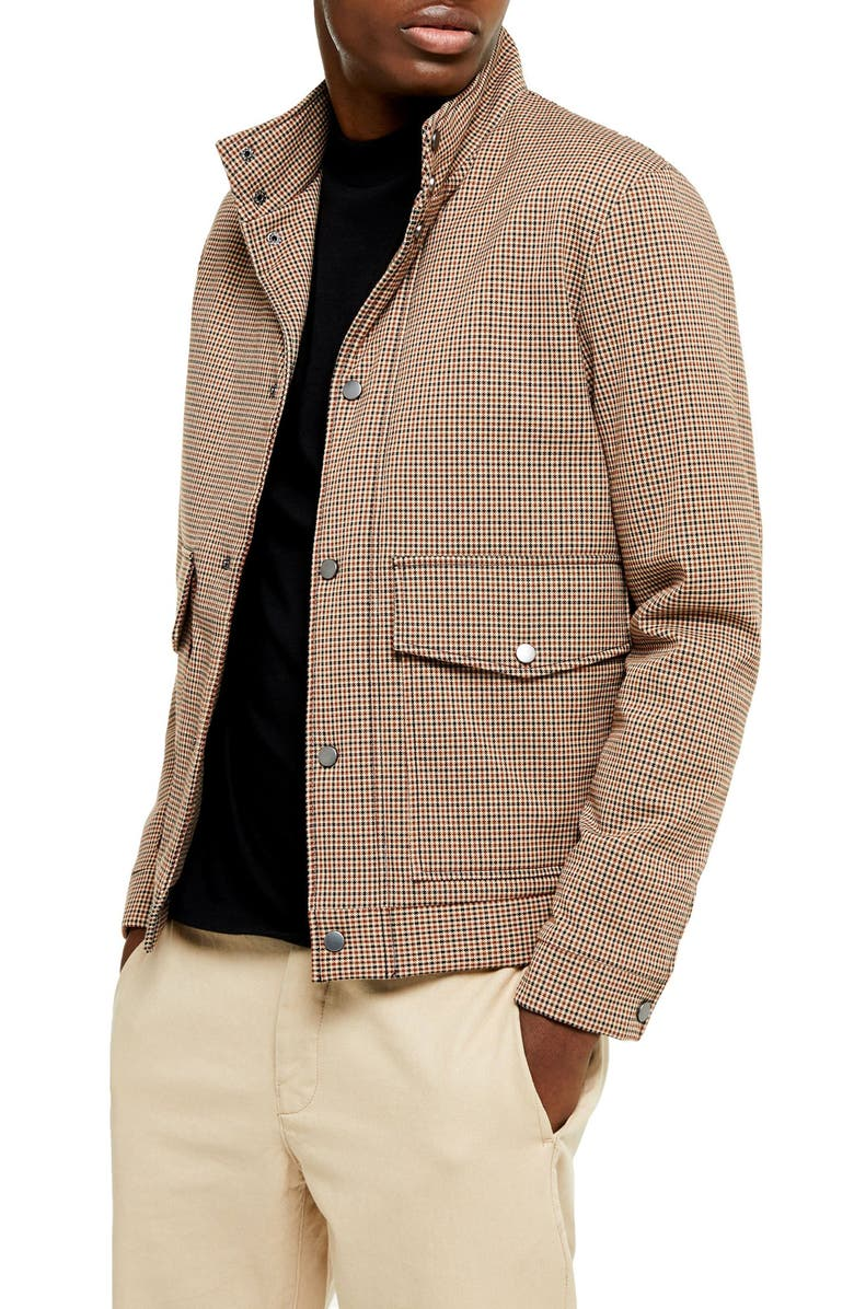 TOPMAN Stellar Harrington Classic Fit Check Jacket, Main, color, 001