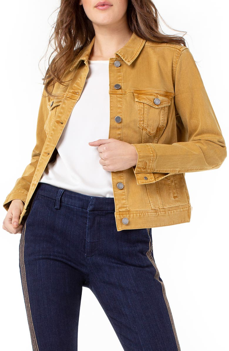 LIVERPOOL Classic Denim Jacket, Main, color, GOLDEN YELLOW