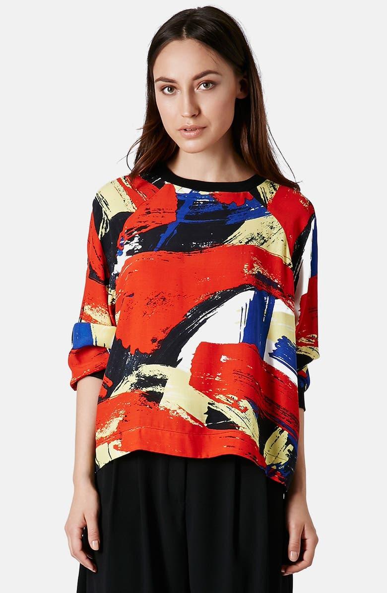 TOPSHOP Brushstroke Pattern Sweatshirt, Main, color, 600