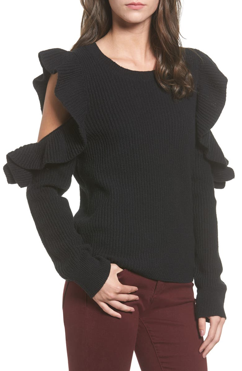 BP. Ruffle Cold Shoulder Sweater, Main, color, 001